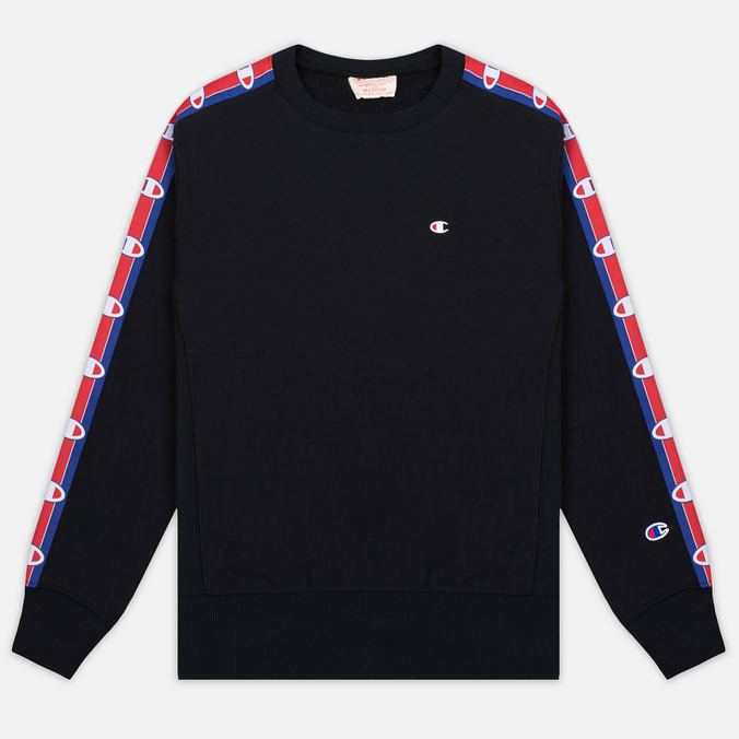 Champion Reverse Weave Taped Logo Crew Neck Men's Sweatshirt Black