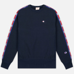 Мужская толстовка Champion Reverse Weave Taped Logo Crew Neck Navy фото- 0