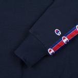 Мужская толстовка Champion Reverse Weave Taped Logo Crew Neck Navy фото- 2