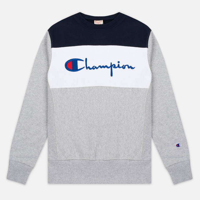 Мужская толстовка Champion Reverse Weave Tricolor Crew Neck Grey/White/Navy