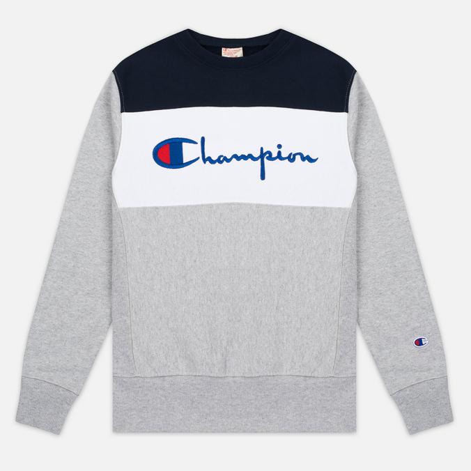Champion Reverse Weave Tricolor Crew Neck Men's Sweatshirt Grey/White/Navy