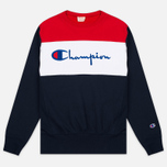 Champion Reverse Weave Tricolor Crew Neck Men's Sweatshirt Navy/White/Red photo- 0