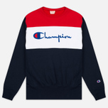 Мужская толстовка Champion Reverse Weave Tricolor Crew Neck Navy/White/Red фото- 0
