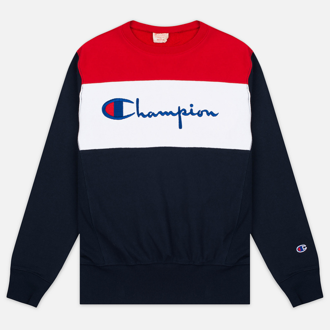Champion Reverse Weave Tricolor Crew Neck Men's Sweatshirt Navy/White/Red