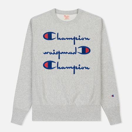 Мужская толстовка Champion Reverse Weave Triple Logo Heather Grey