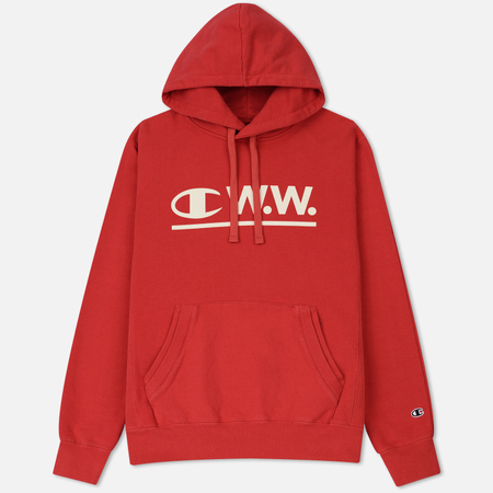 Мужская толстовка Champion Reverse Weave x Wood Wood W.W. Logo Hoody Washed Red