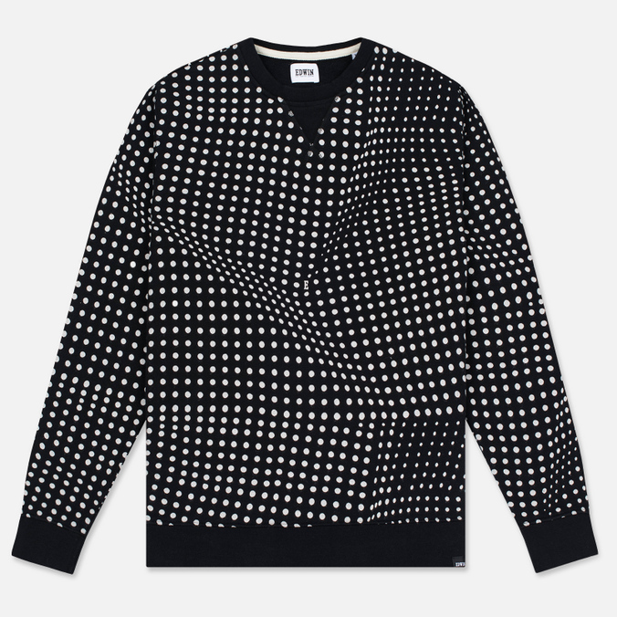 Мужская толстовка Edwin Classic Crew Felpa Americana Black Factured Dot