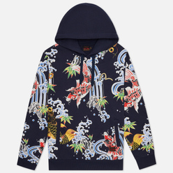 Мужская толстовка Evisu Carp All Over Printed Hoodie Dark Navy