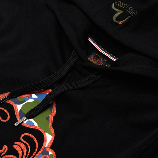Мужская толстовка Evisu Evergreen Camouflage Godhead Patched Embroidered Black