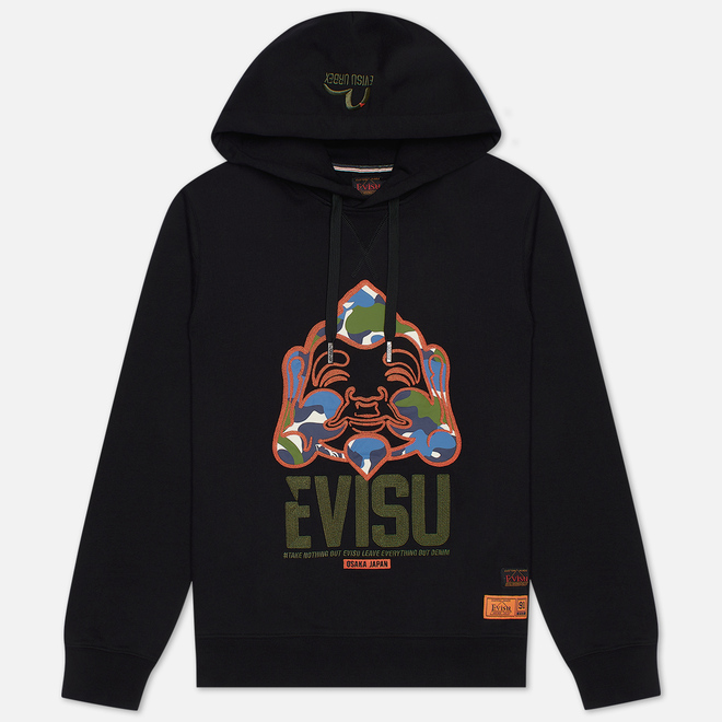 Мужская толстовка Evisu Evergreen Camouflage Godhead Patched Embroidered Black