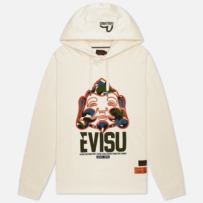 Мужская толстовка Evisu Evergreen Camouflage Godhead Patched Embroidered Ecru
