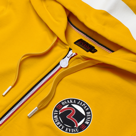 Мужская толстовка Evisu Evergreen Seagull Printed Zip-Up Hoodie Fusion Yellow