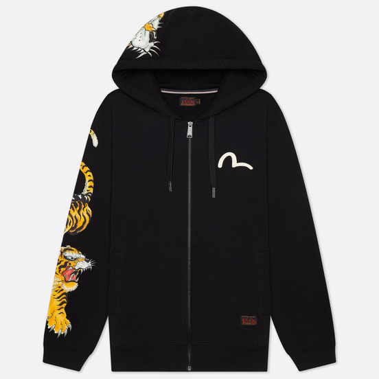 Мужская толстовка Evisu Evergreen Tigers Printed Logo Zip-Up Hoodie Black