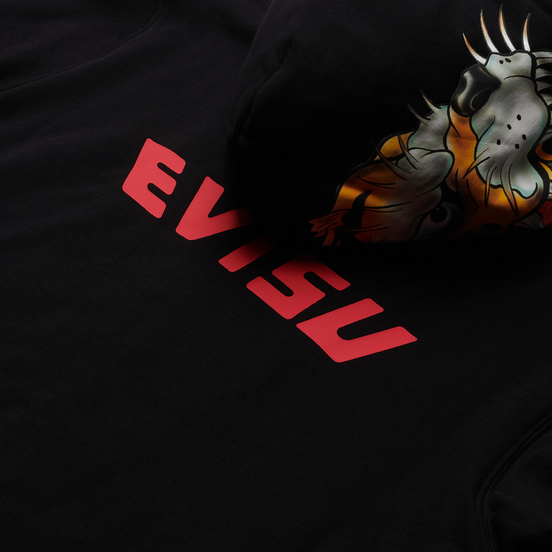 Мужская толстовка Evisu Evergreen Tigers Printed Logo Zip-Up Hoodie Black