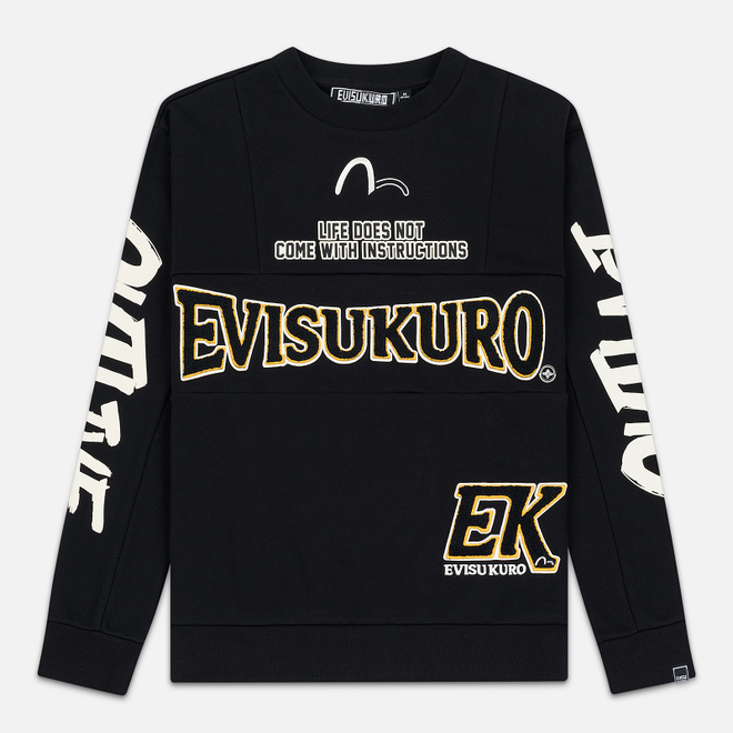 Мужская толстовка Evisu Evisukuro EK Reworked Side Zipper Black