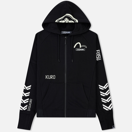Мужская толстовка Evisu Glow Taping Raglan Sleeves Zip Up Hoodie Black