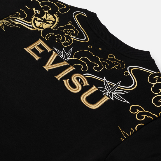 Мужская толстовка Evisu Heritage Carp & Wave Pattern Foil Printed Black