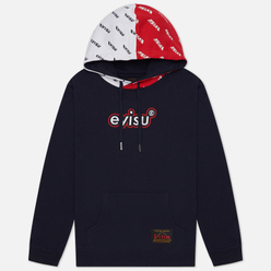 Мужская толстовка Evisu Heritage Color Blocking All Over Printed Daicock Hoodie Dark Navy