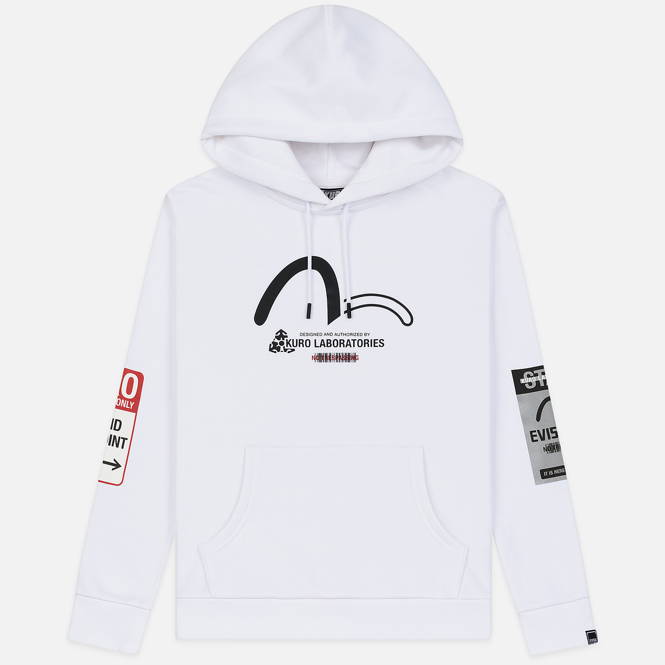 Мужская толстовка Evisu Hoodie With Detectable Arm Sleeves Bright White