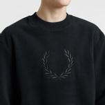 Мужская толстовка Fred Perry Embroidered Crew Neck Fleece Black фото- 2