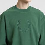 Мужская толстовка Fred Perry Embroidered Crew Neck Fleece Tartan Green фото- 2