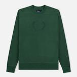 Мужская толстовка Fred Perry Embroidered Crew Neck Fleece Tartan Green фото- 0