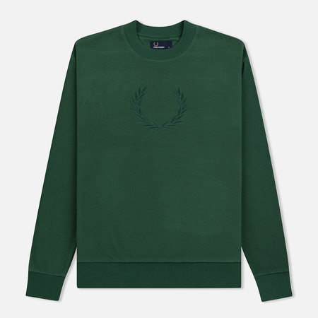 Мужская толстовка Fred Perry Embroidered Crew Neck Fleece Tartan Green