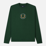 Мужская толстовка Fred Perry Oversized Archive Branding Embroidered Tartan Green фото- 0