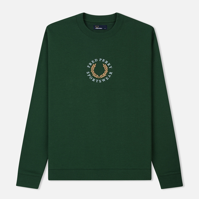 Мужская толстовка Fred Perry Oversized Archive Branding Embroidered Tartan Green