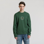 Мужская толстовка Fred Perry Oversized Archive Branding Embroidered Tartan Green фото- 1