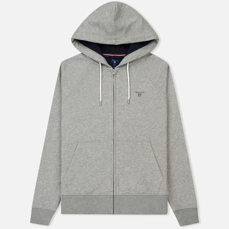 Мужская толстовка Gant Original Full Zip Hoodie Grey Melange
