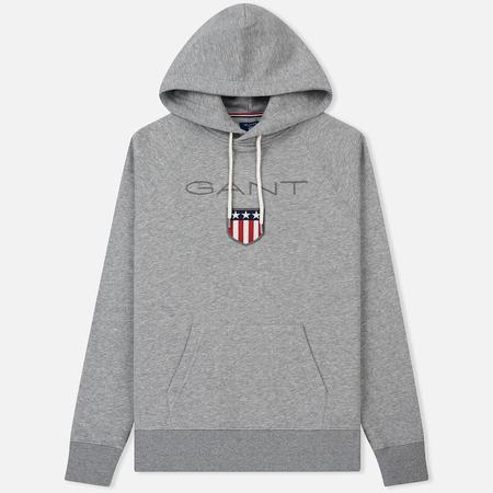 Мужская толстовка Gant Gant Logo Hoodie Grey Melange