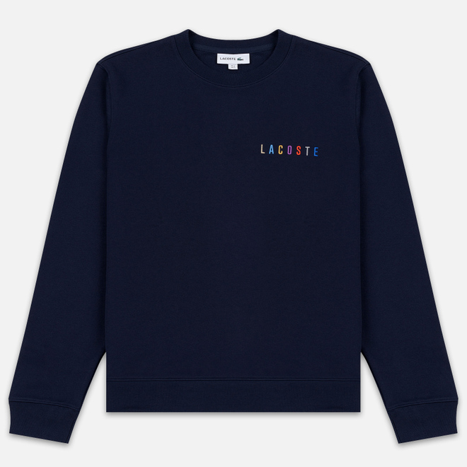 Мужская толстовка Lacoste Embroidered Multicolour Signature Fleece Navy Blue
