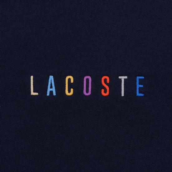 Мужская толстовка Lacoste Embroidered Multicolour Signature Fleece Navy Blue