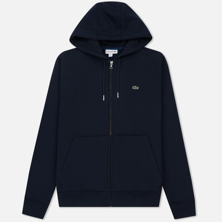 Мужская толстовка Lacoste Hooded Zippered Brushed Fleece Navy Blue/Midnight Blue