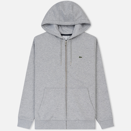 Мужская толстовка Lacoste Hooded Zippered Brushed Fleece Silver/Navy Blue
