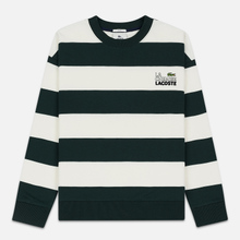 Мужская толстовка Lacoste Live Embroidered Striped Fleece White/Green фото- 0