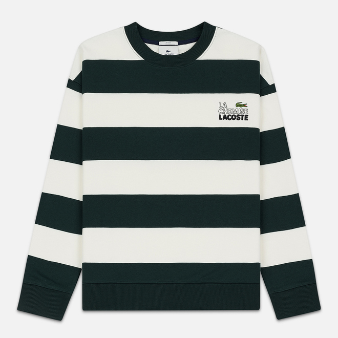 Мужская толстовка Lacoste Live Embroidered Striped Fleece White/Green