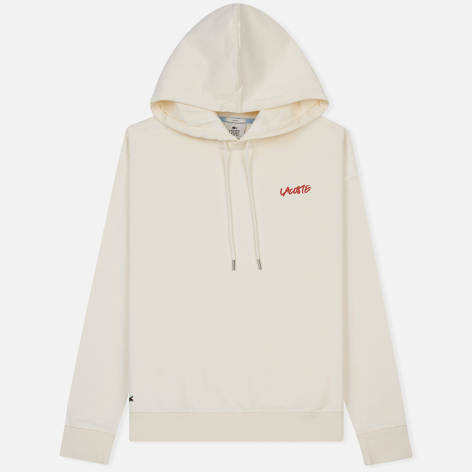 Мужская толстовка Lacoste Live Signature Embroidery Print Hoodie White/Red/Light Blue/Black