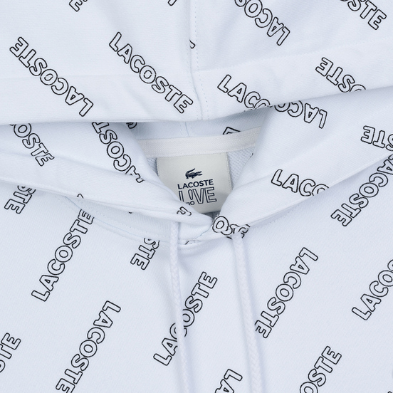 Мужская толстовка Lacoste Live Signature Print Fleece Hoodie White/Black