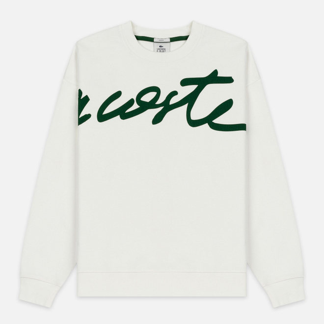 Мужская толстовка Lacoste Live Signature Texturised Fleece White/Green