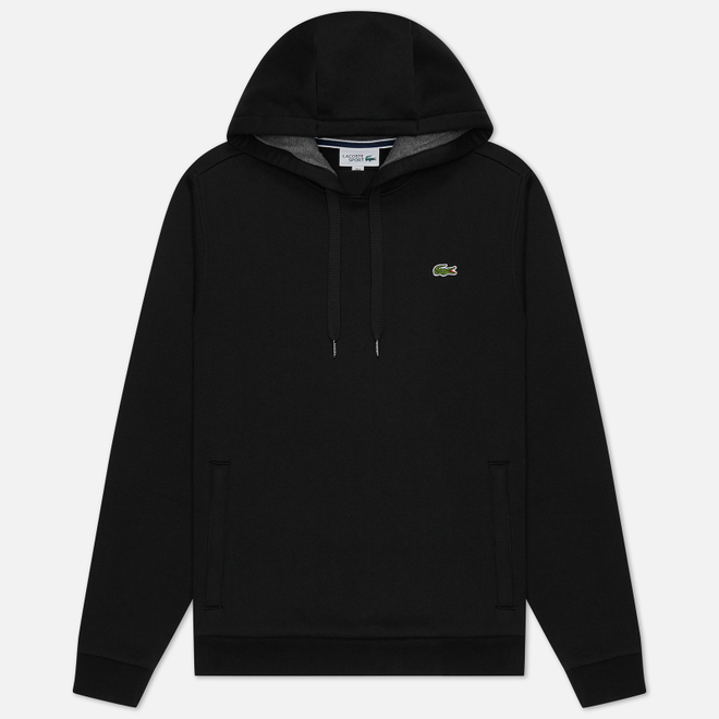 Мужская толстовка Lacoste Sport Hooded Fleece Tennis Black/Grey Chine