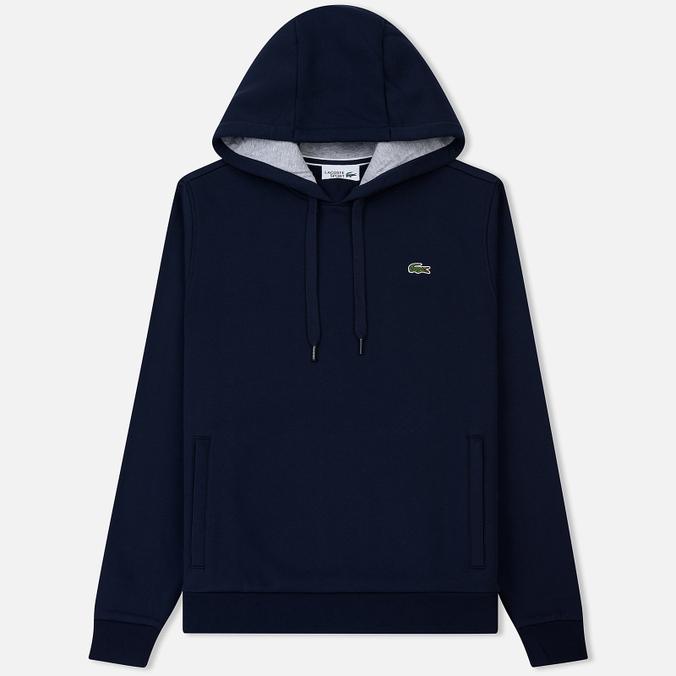Мужская толстовка Lacoste Sport Hooded Fleece Tennis Navy Blue/Silver Chine