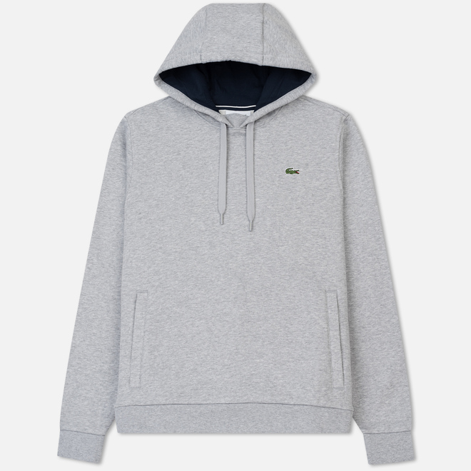 Мужская толстовка Lacoste Sport Hooded Fleece Tennis Silver/Navy Blue