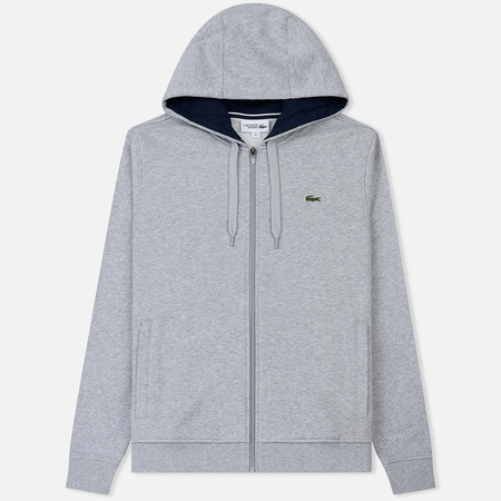 Мужская толстовка Lacoste Sport Tennis Hooded Zippered Silver/Navy Blue