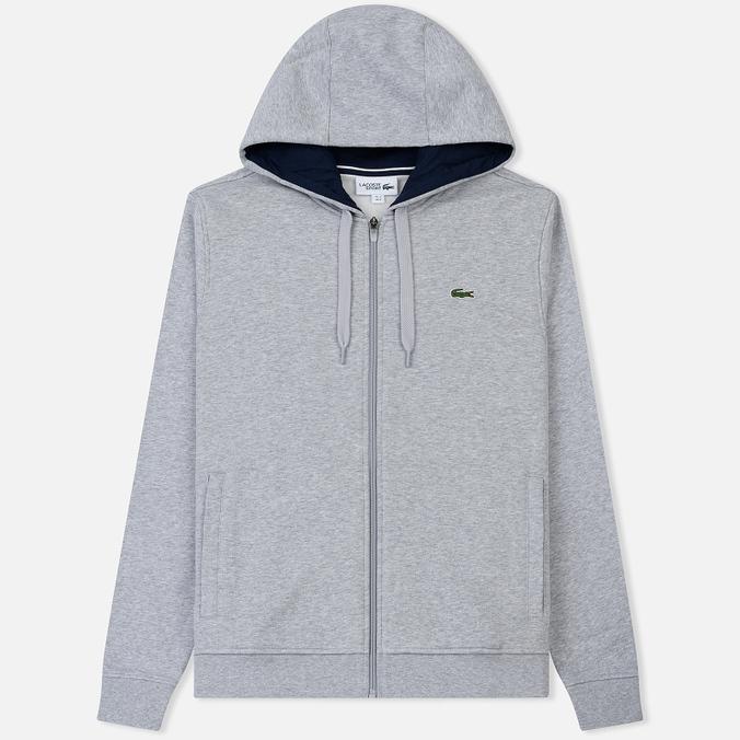 Мужская толстовка Lacoste Sport Tennis Hooded Zippered Silver/Navy Blue