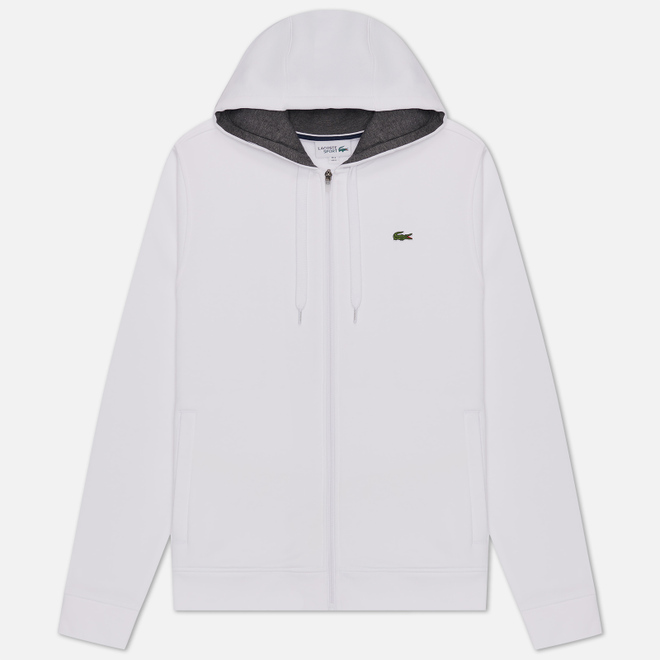 Мужская толстовка Lacoste Sport Tennis Hooded Zippered White/Grey Chine
