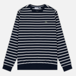 Мужская толстовка Lacoste Stripe Fleece Crew Sweat Navy/White фото- 0