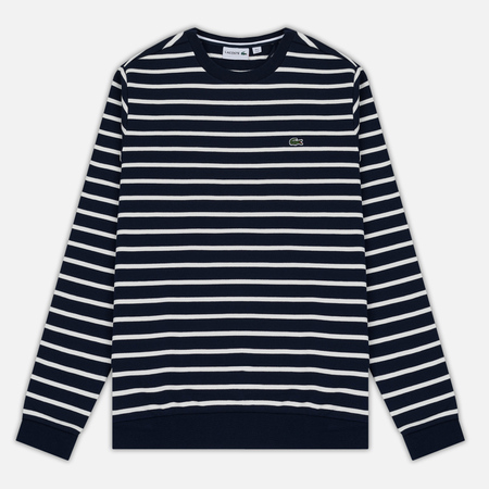 Мужская толстовка Lacoste Stripe Fleece Crew Sweat Navy/White