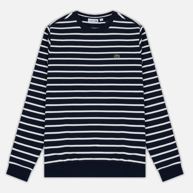 Мужская толстовка Lacoste Stripe Fleece Crew Sweat Navy/White